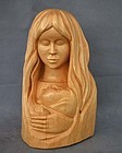 Wood Sculpture Mother With Child by Andre-M.Bourgault