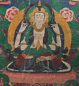 Antique Tibetan Thangka Thanka Avalokiteshvara 18th c
