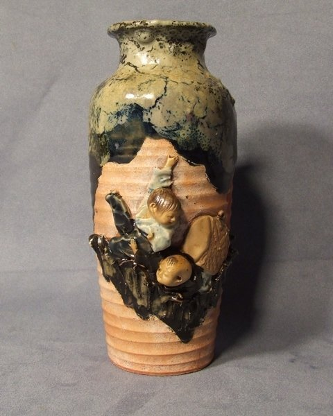 Antique Japanese Sumida Gawa Vase late 19th century