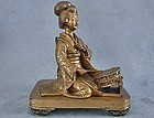 Antique Japanese Bronze Geisha Sculpture Meiji Period