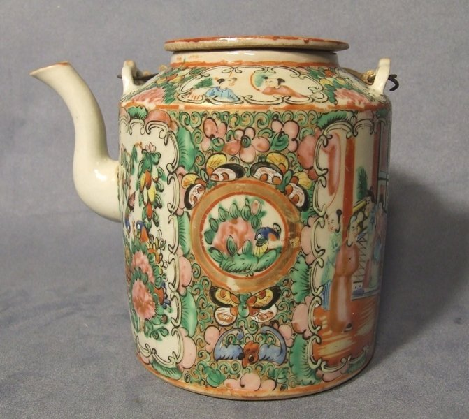 Antique Chinese Mandarin Rose Tea Pot Quing Dynasty