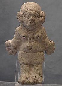 Antique Pre-Columbian Jama Coaque Ceramic Female Figure