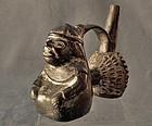 Antique Pre-Columbian Moche Ceramic Figural Whistling