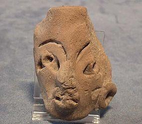 Antique Precolumbian Terracotta Head fragment Mayan