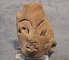 Antique Precolumbian Terracotta Head fragment Mayan