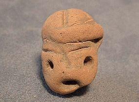 Antique Pre-Columbian Mayan Terracotta Small Head