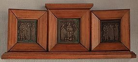 Antique 19th century Russian Bronze Triptych Icon
