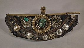 Antique 18th-19th Century Tibetan Belt Pouch With Turquoises
