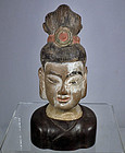 Antique Chinese Ming Dynasty Terracotta Head Avalokiteshvara Bodhisatt