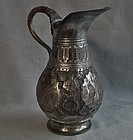 Antique 19th c Persian Qajar Dynasty Islamic Tinned Copper Pitcher Jug