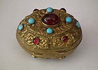 Antique 18th -19th c Turkish Ottoman Jeweled Tombak Gilt Snuff Box