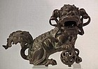 Antique Chinese Ming Dynasty Bronze Buddhist Guardian Lion Foo Dog