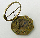 Antique 18th Century Brass Equinoctial Pocket Sundial Compass Augsburg