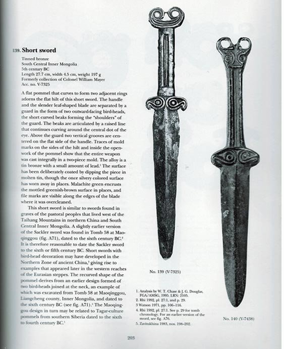 Ancient 400 B.C Scythian Ordos China Bronze Dagger Sword Acinaces