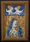 Antique 17/18th century Italian Majolica Tiles Virgin Mary With Jesus