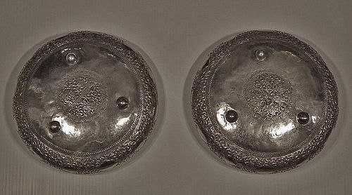 Two Antique Islamic Malaysian Silver Bowls with Sword Kris Dager Keris