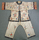 Antique Chinese Qing Dynasty Embroidered Silk Robe Jacket & Trousers
