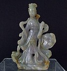 Antique Chinese Qing Dynasty Carved Jade Jadeite Statue Figurine