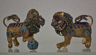 Pair of Antique Chinese Silver Cloisonné Foo Dogs Buddhist Lions