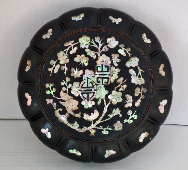 SOLD  Antique Chinese Mother Of Pearl Lacquer Basket Lunch Box
