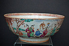 Antique Chinese Export Famille Rose Mandarin Pattern Bowl Qing Dynasty
