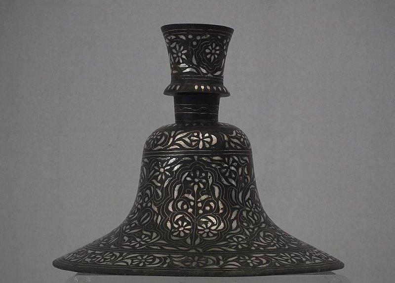 Antique Islamic Indian Mughal Silver Inlaid Bidri Hookah Huqqa India