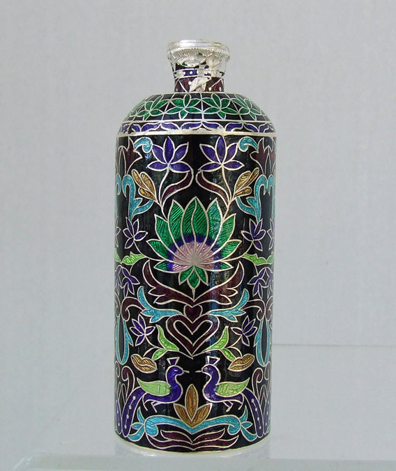 Antique Indian Enameled Silver Perfume Bottle Scent Flask India