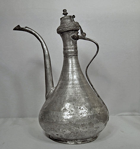 Antique 18/19th century Islamic Turkish Ottoman Tinned Copper Ewer