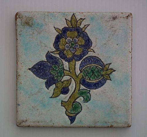 Antique 18th Century Turkish Ottoman Kütahya Islamic Ceramic Tile