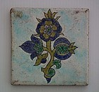 Antique 18th Century Turkish Ottoman Kütahya Islamic Ceramic Tile