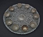 Antique Islamic Turkish Ottoman Silvered Copper Zarfs & Tray