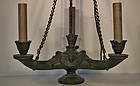 Antique Empire Regency Style Neoclassic Roman Bronze Chandelier