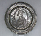 Antique German Pewter Plate with Engraved Portrait Frederick The Great