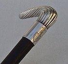 Antique Silver Walking Stick Cane Polish Coat Of Arms Kosciesza Poland