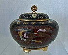 Antique Japanese Cloisonne Incense Burner Koro Meiji Japan