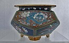 Antique Japanese Cloisonne Enamel Incense Burner Koro Meiji Japan
