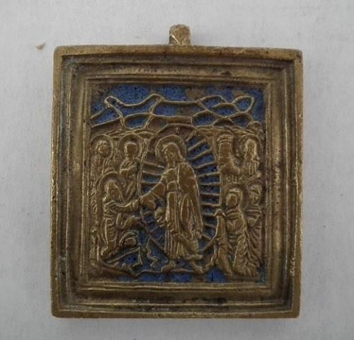 Antique Russian Orthodox Brass & Enamel Icon Anastasis