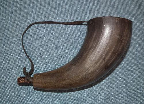 Antique 19th century American Bison/Buffalo Gun Powder Horn