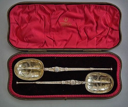 Pair of Rare Dated 1900 Silver Gilt Spoons Edward VII Coronation