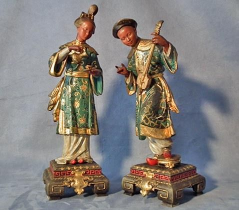 Pair of Antique European 19th cen Spelter Sculptures of Chinese Couple