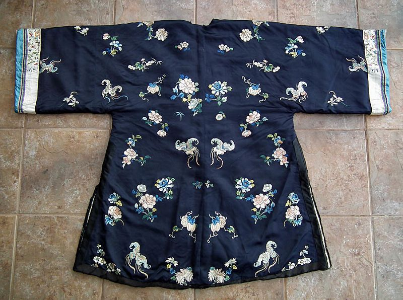 Antique 19th Century Chinese Qing Dynasty Embroidered Winter Coat Robe
