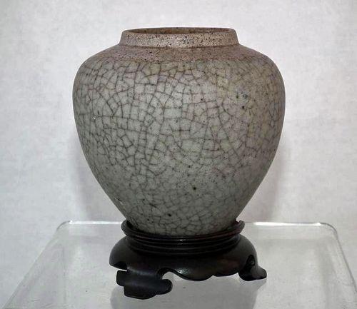 Antique Chinese Yuan Dynasty Crackle � Glaze Ge Type Ceramic Jar