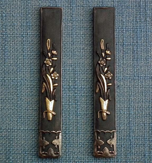Pair Antique Japanese Kozuka To Samurai Sword Katana Wakizashi Tanto