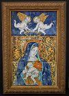 Antique 17th-18th c Italian Majolica Tiles Virgin Mary with Jesus
