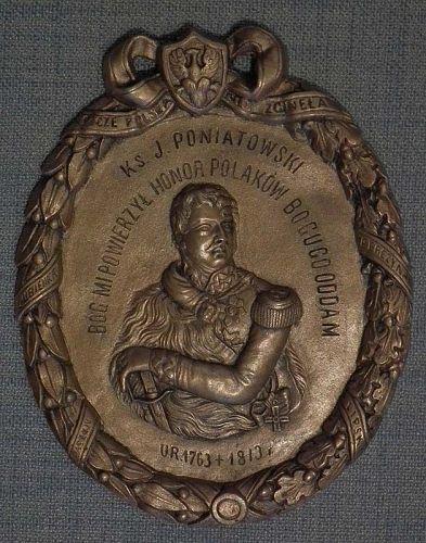 Antique Plaque Prince Jozef Poniatowski Commander Of Polish Napoleonic