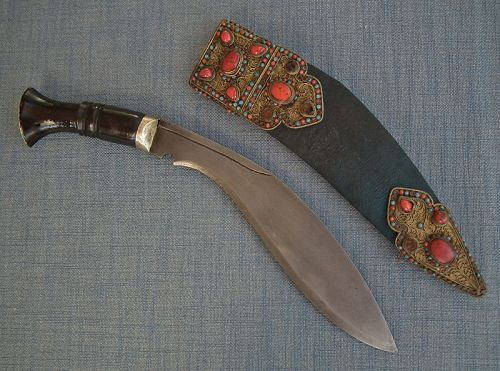 Antique 19th Century Jeweled Nepalese Gurkha Knife Kukri Khukuri