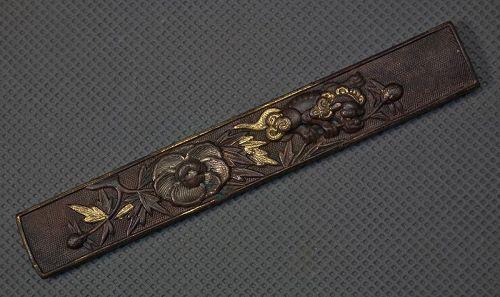 Antique Japanese Samurai Knife Handle Kozuka with a Buddhist Lion