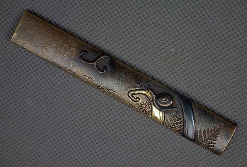 Antique Japanese Edo Period Smurai Kozuka Knife Handle With Snail