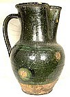 Antique 17th century Tudor Green Ware Wine Jug Or Beer Pitcher