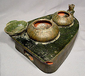Antique Chinese Han Dynasty Green Glaze Pottery Stove